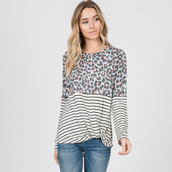 Leo Leopard Stripe Knot Top Mint