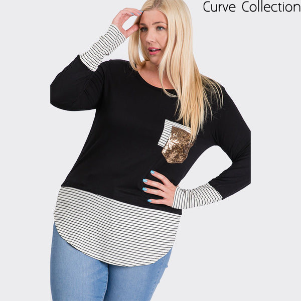 Curve Sule Striped Hem Pocket Top Black