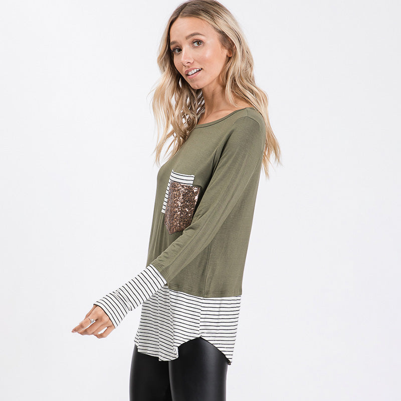 Sule Striped Hem Pocket Top Khaki