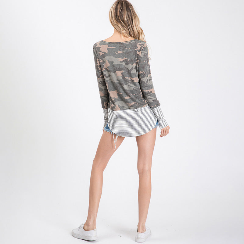 Sule Striped Hem Pocket Top Army