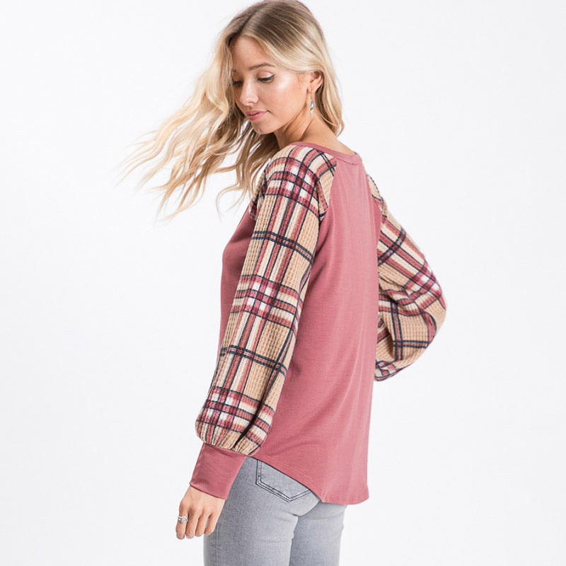 Eve Plaid Sleeve Top Mauve