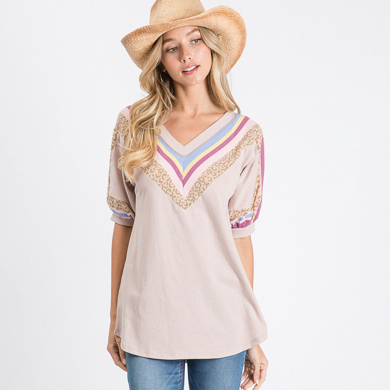 Chevron Short Sleeve Top (Blush)