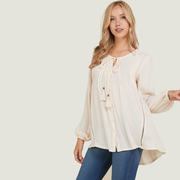 Button Down Tassel Tie Blouse Cream