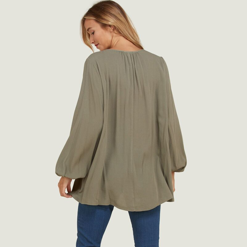 Button Down Tassel Tie Blouse Khaki