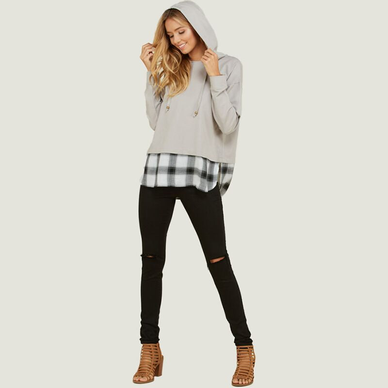 Checkered Hem Hoodie Sweater Grey