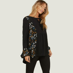 7a0cd5253dc129 Floral Flute Sleeve Blouse Black – CasualCompany