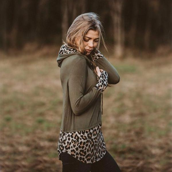 Two Tone Leopard Hoody