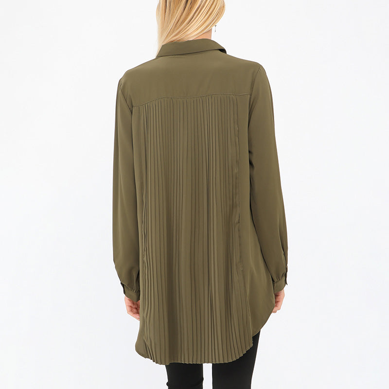 Long Pleated Back Shirt Khaki