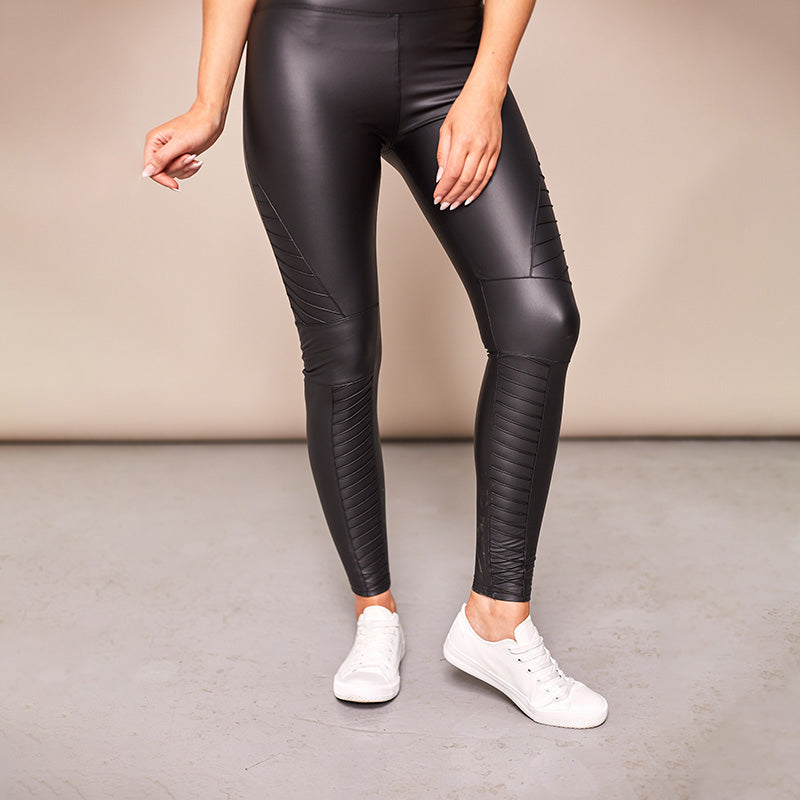 Wet Look Biker Leggings (Black)