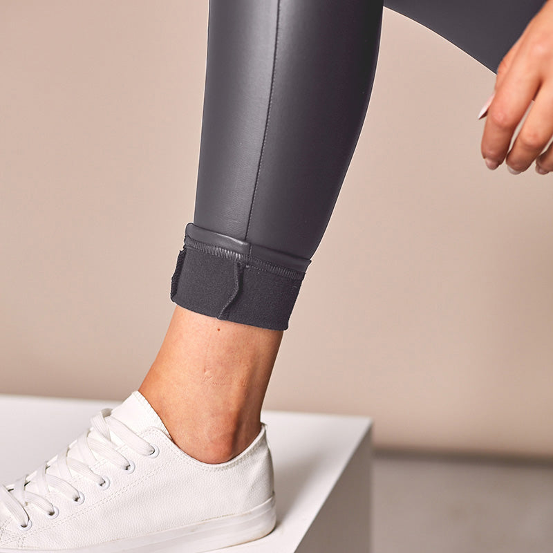 Wet Look Biker Leggings (Charcoal)