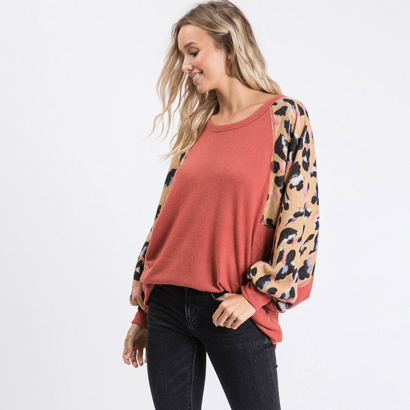 Anna Leopard Sleeve Oversized Top Mauve
