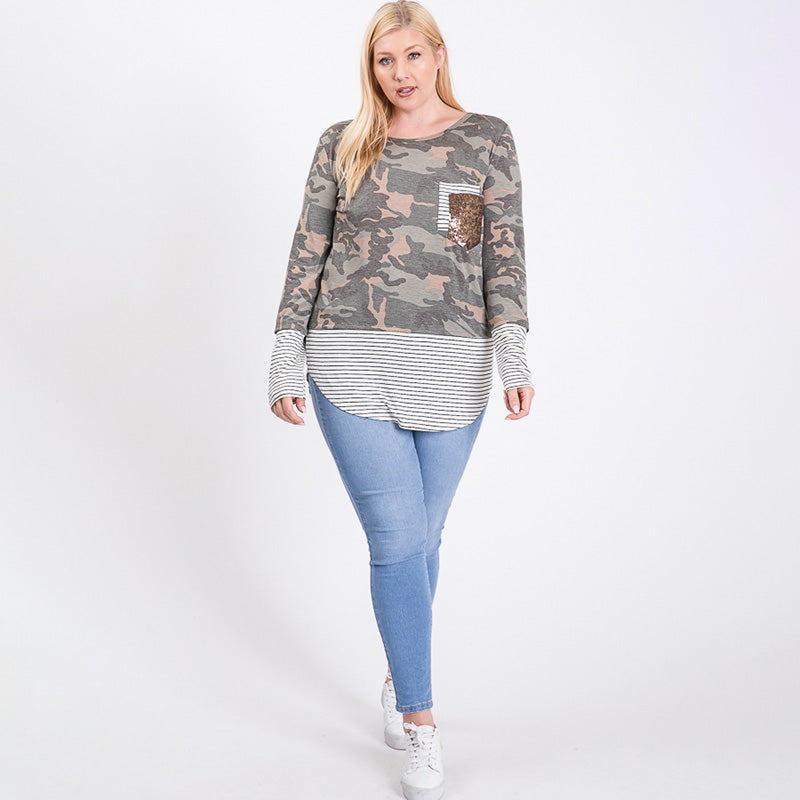 Curve Sule Striped Hem Pocket Top Army