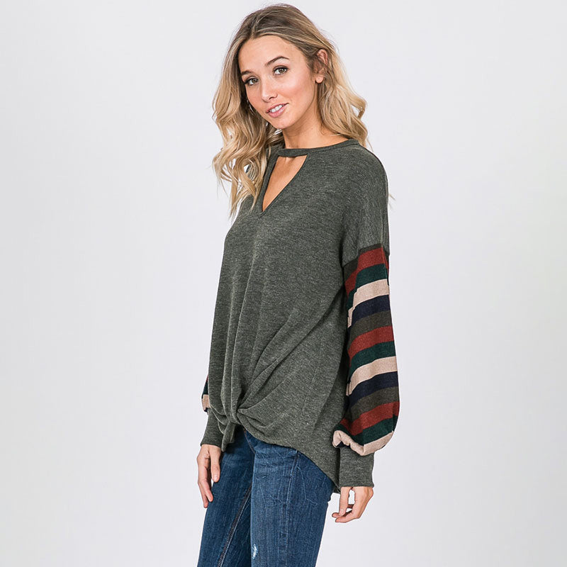 Aine Stripe Sleeve Top Khaki