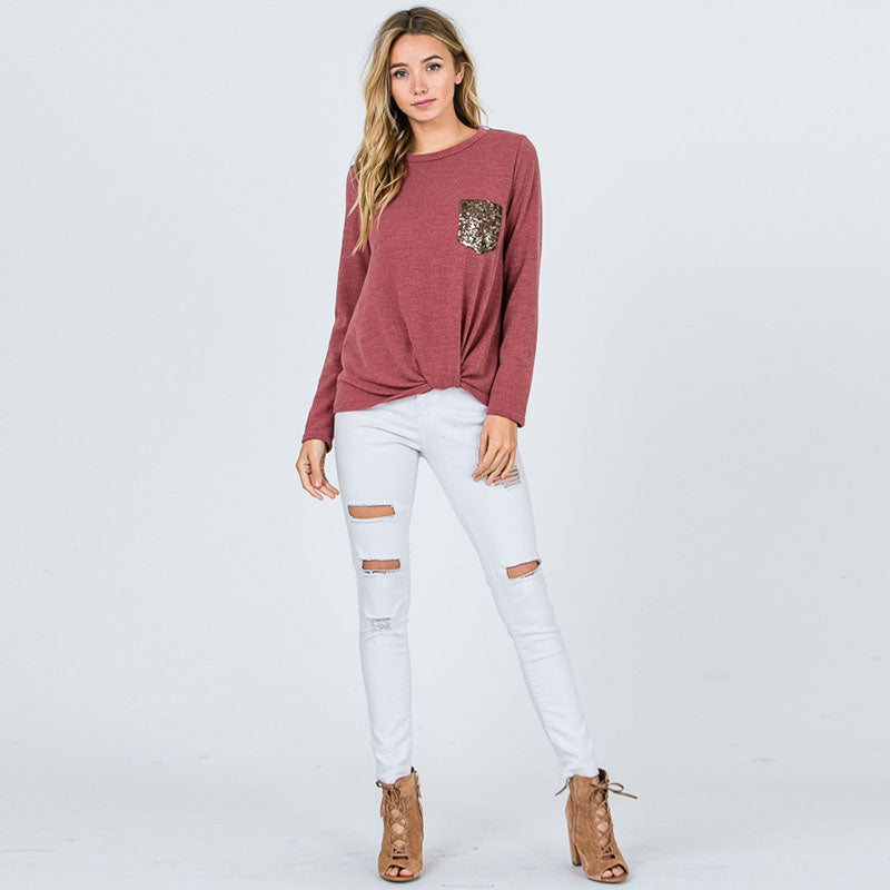 Glitter Pocket Knot Top Mauve
