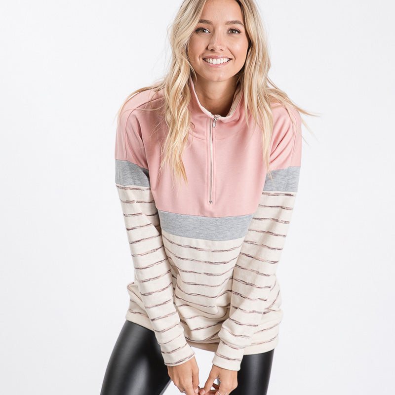 Cara Colour Block Zip Sweatshirt Pink
