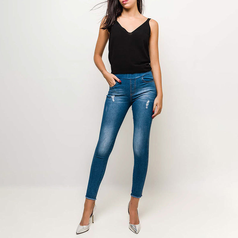 Classic High Waisted Jean Jeggings (Light Blue)