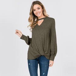 Sandra Puff Sleeve Top Khaki