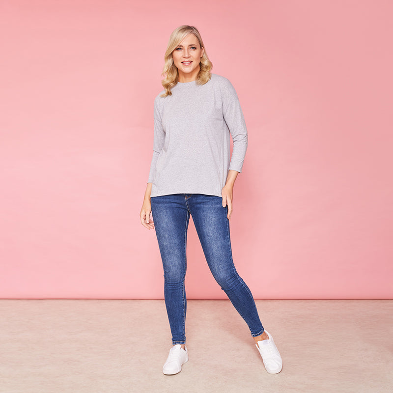 Riley Crew Neck Top (Marled Grey)