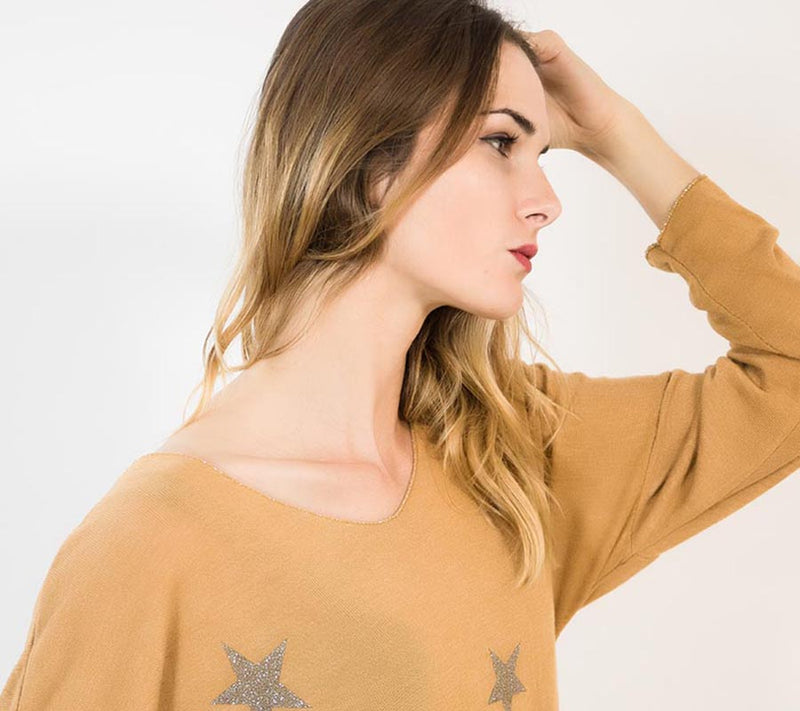 Star V Neck Jumper Mustard