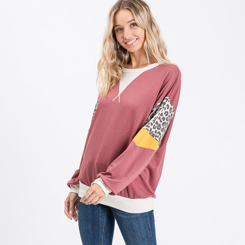 Polly Leopard Top Rose Wood