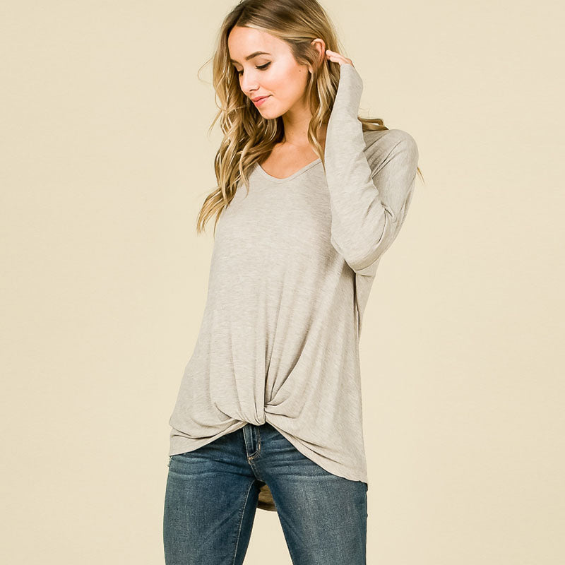 Long Sleeve Knot Top Grey
