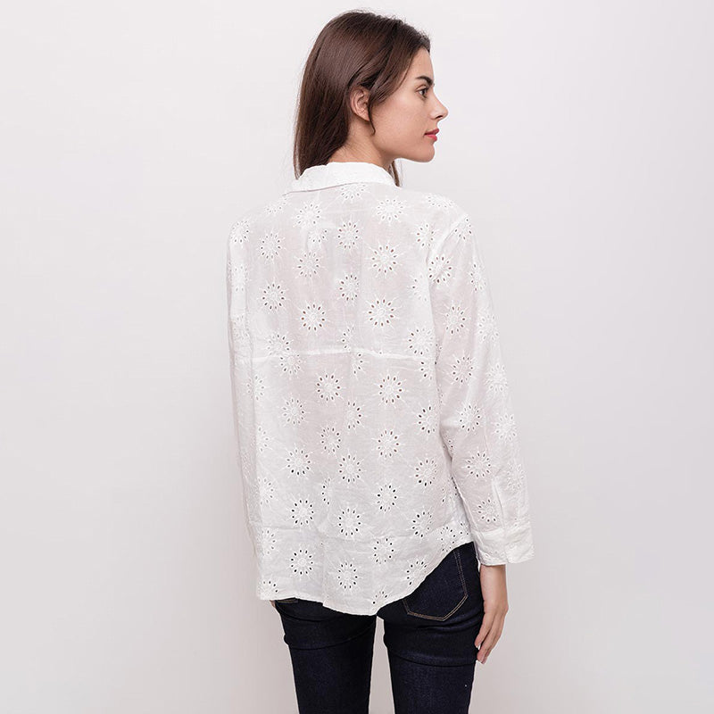 Emma Embroidered Shirt White