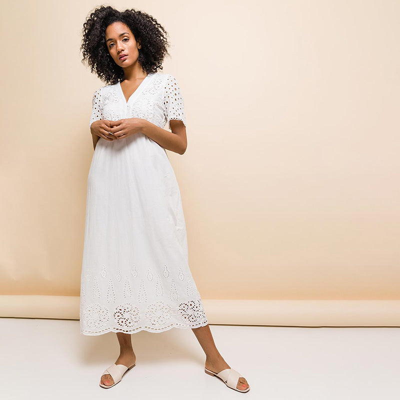 Elena Embroidery Dress White