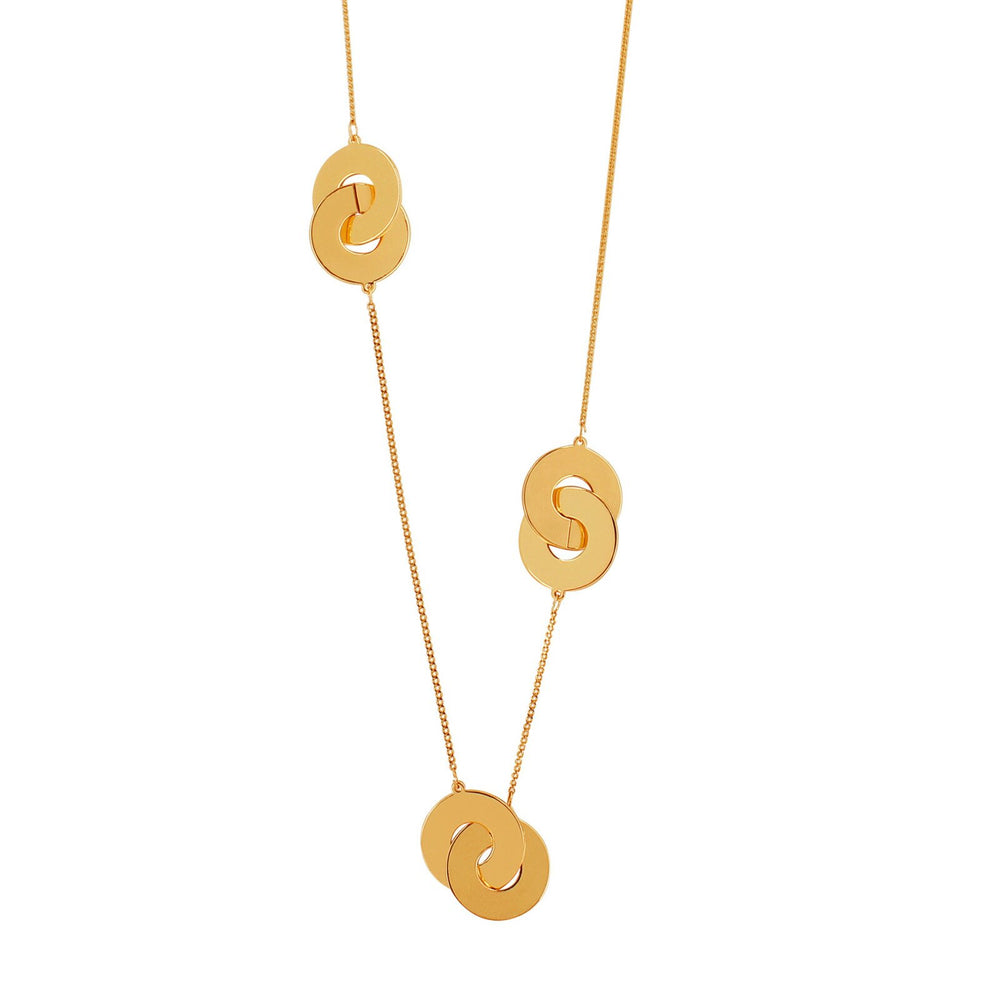 Dansk Vanity Triple Coin Necklace Gold