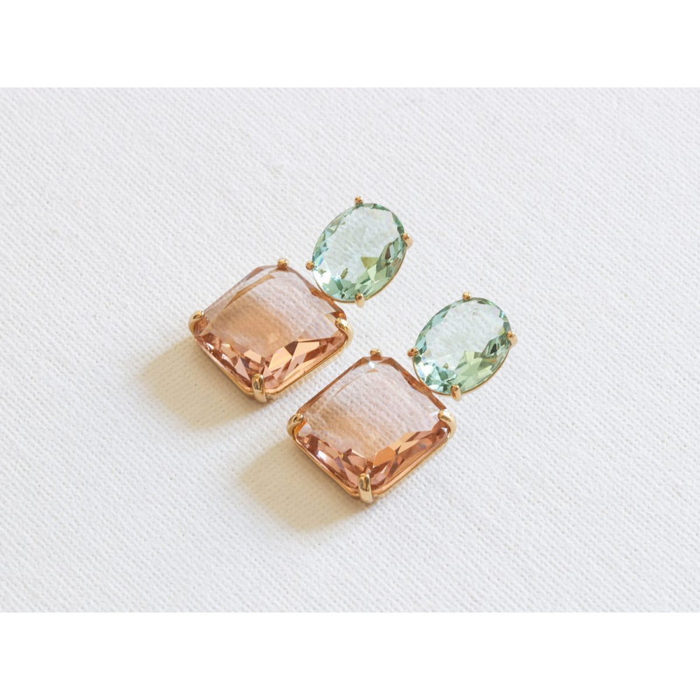 Stone Cut Luxe Earrings Pink and Green