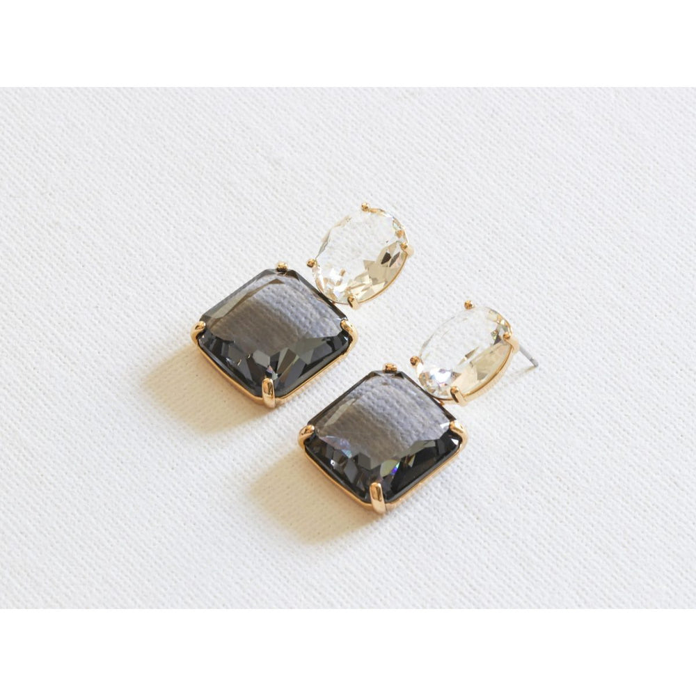 Stone Cut Luxe Earrings Crystal Blue