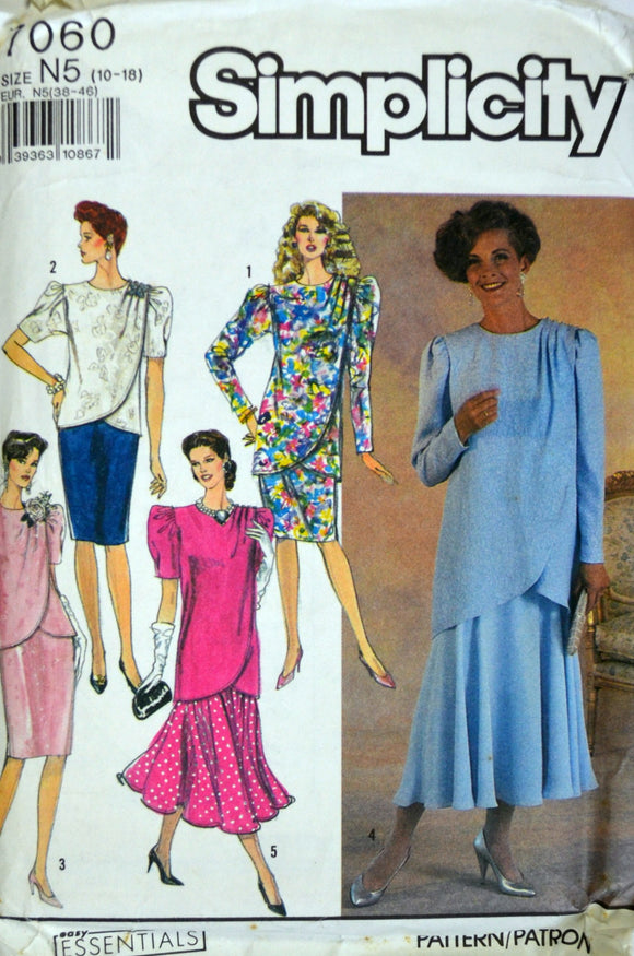 1990s Simplicity Vintage Sewing Pattern 7060; Size 10-18