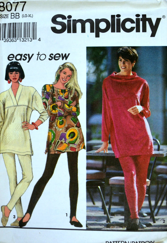 1990s Simplicity Vintage Sewing Pattern 8077, Size L, XL