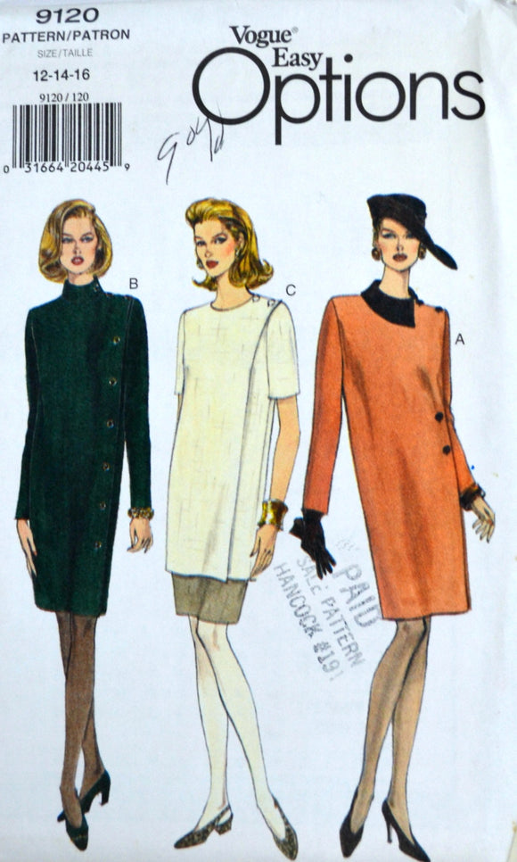 Uncut 1990s Vogue Vintage Sewing Pattern 9120, Size 12-14-16