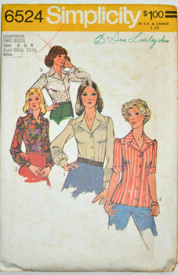 Uncut 1970s Simplicity Vintage Sewing Pattern 6524, Size 6, 8