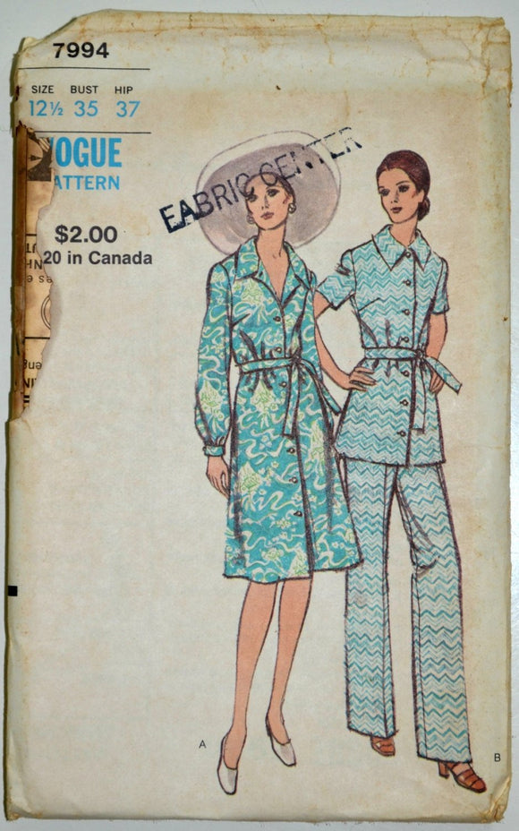 Uncut 1970s Vogue Vintage Sewing Pattern 7994, Size 12.5; Half-Size Dress, Top and Pants