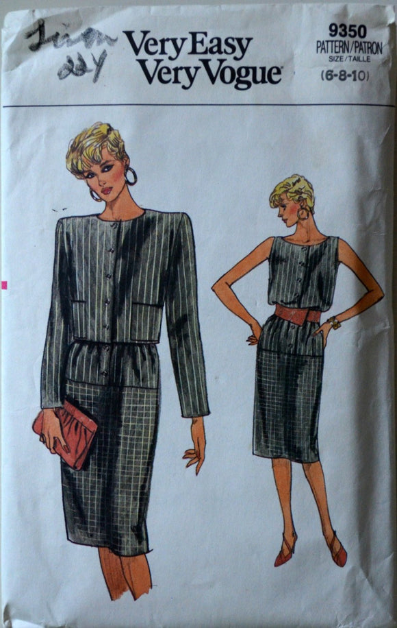 1980s Vogue Vintage Sewing Pattern 9350, Size 6-8-10