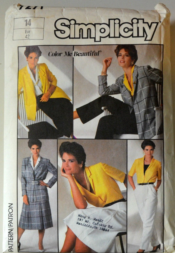 1980s Simplicity Vintage Sewing Pattern 7271; Size 14; Misses' Skirt, Pants, Blouse, and Jacket