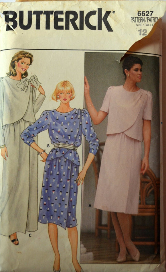 1980s Butterick Vintage Sewing Pattern 6627, Size 12; Misses' Top and Skirt