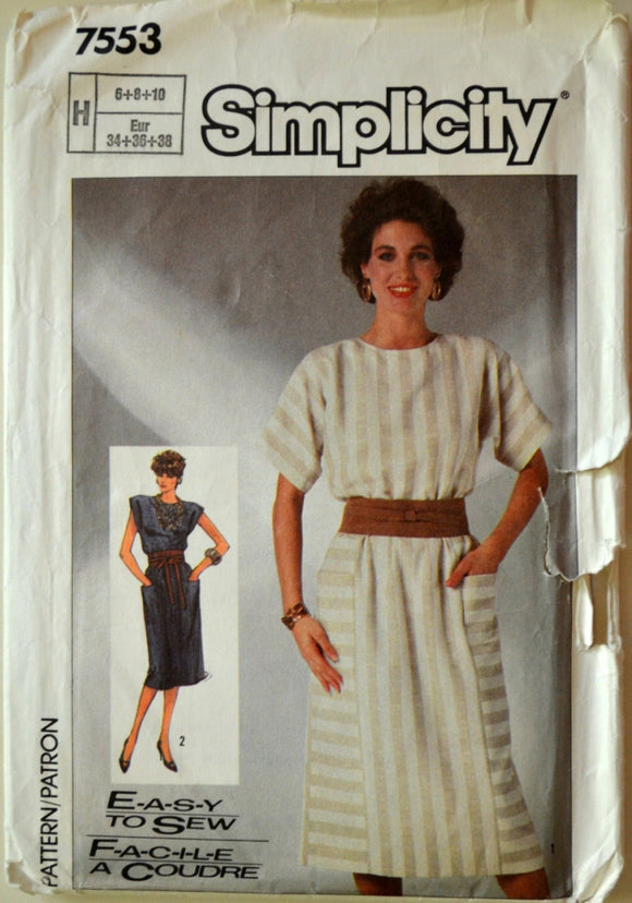 1980s Simplicity Vintage Sewing Pattern 7553; Size 6-8-10