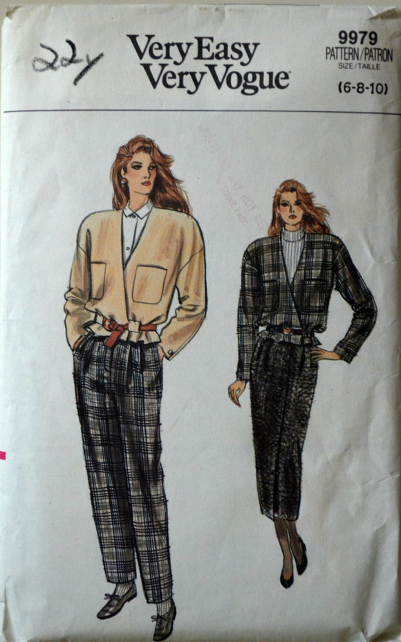 1980s Vogue Vintage Sewing Pattern 9979, Size 6-8-10; Misses'/Misses' Petite Jacket, Skirt, and Pants