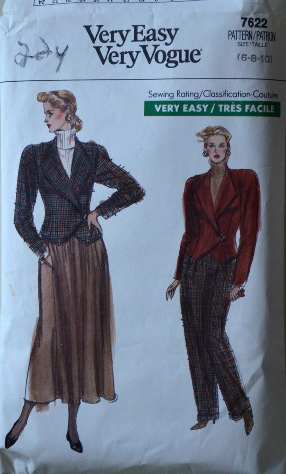 1980s Vogue Vintage Sewing Pattern 7622, Size 6-8-10; Misses'/Misses' Petite Jacket, Pants, and Skirt