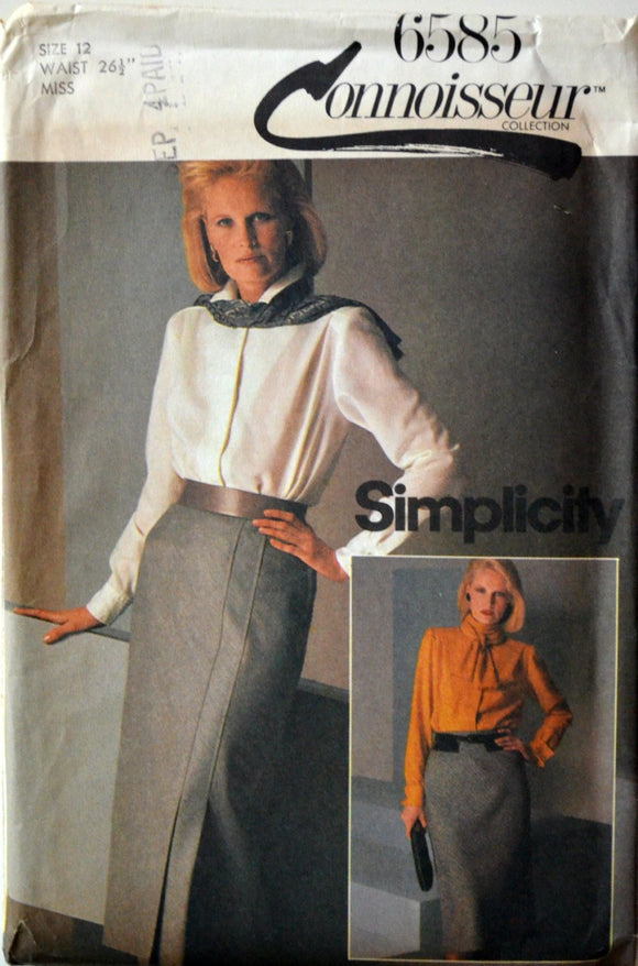 Uncut 1980s Simplicity Connoisseur Vintage Sewing Pattern 6585; Size 12; Misses' Set of Lined Bias Skirts in Two Lengths