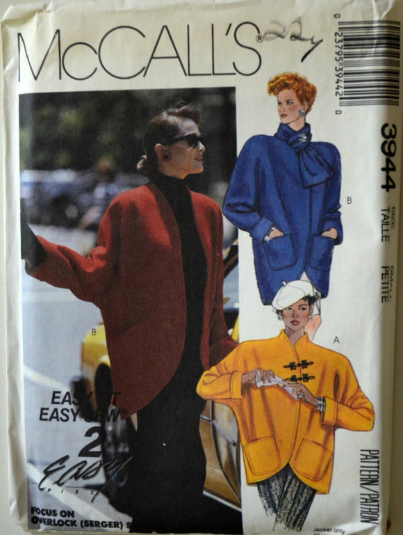 Uncut 1980s McCall's Vintage Sewing Pattern 3944, Size Small Petite; Misses' Unlined Jacket and Scarf