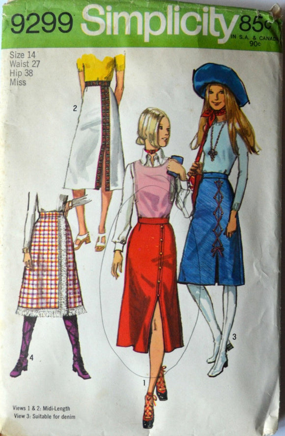 1970s Simplicity Vintage Sewing Pattern 9299, Size 14; Misses' Skirt in Two Lengths