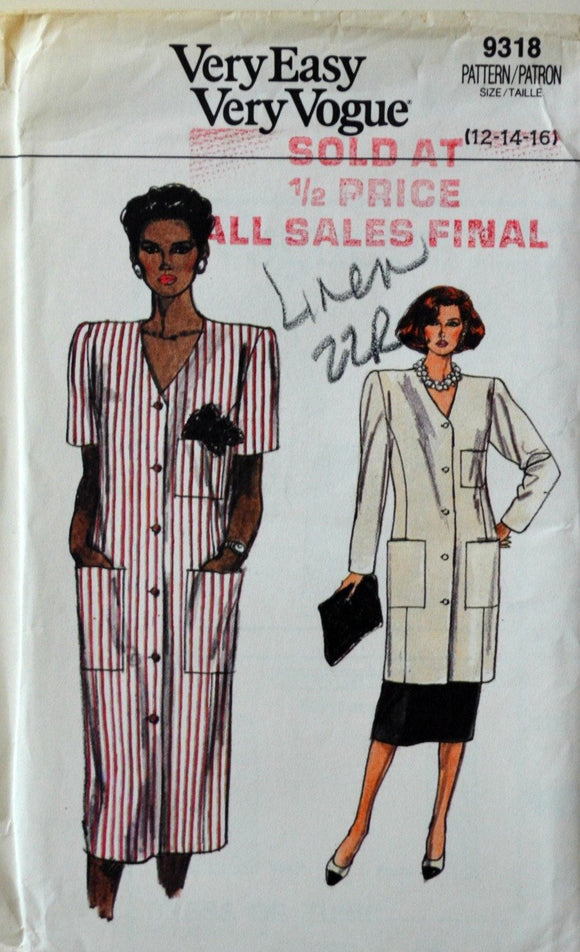 Uncut 1980s Vogue Vintage Sewing Pattern 9318, Size 12-14-16; Misses' Dress, Tunic, and Skirt