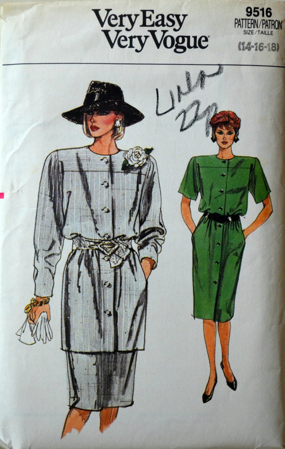 1980s Vogue Vintage Sewing Pattern 9516, Size 14; Misses' Dress, Tunic, and Skirt