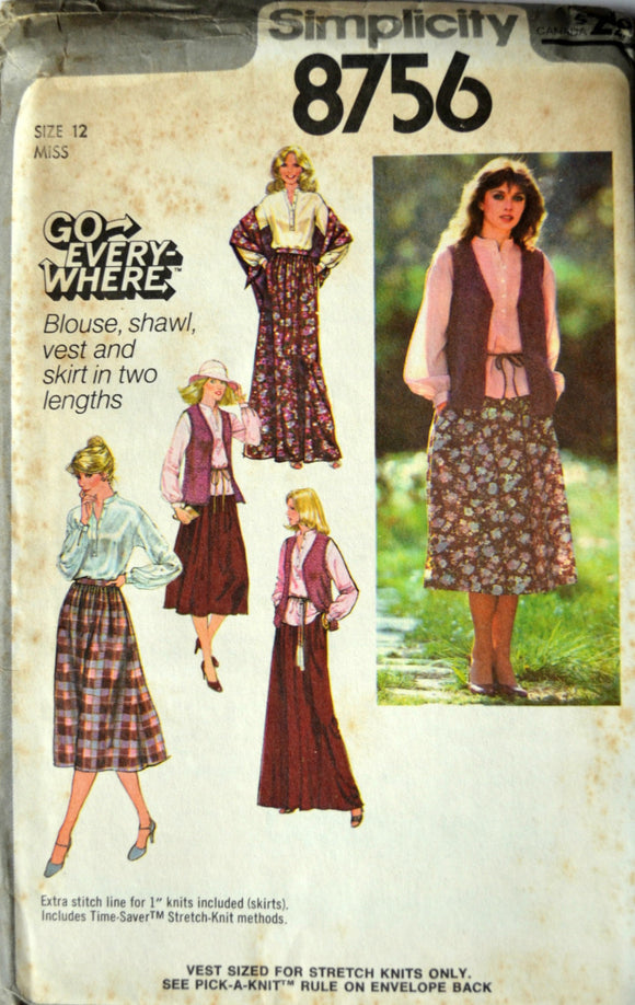 Uncut 1970s Simplicity Vintage Sewing Pattern 8756, Size 12; Misses' Pullover Blouse, Shawl, Unlined Vest, and Skirt in Two Lengths
