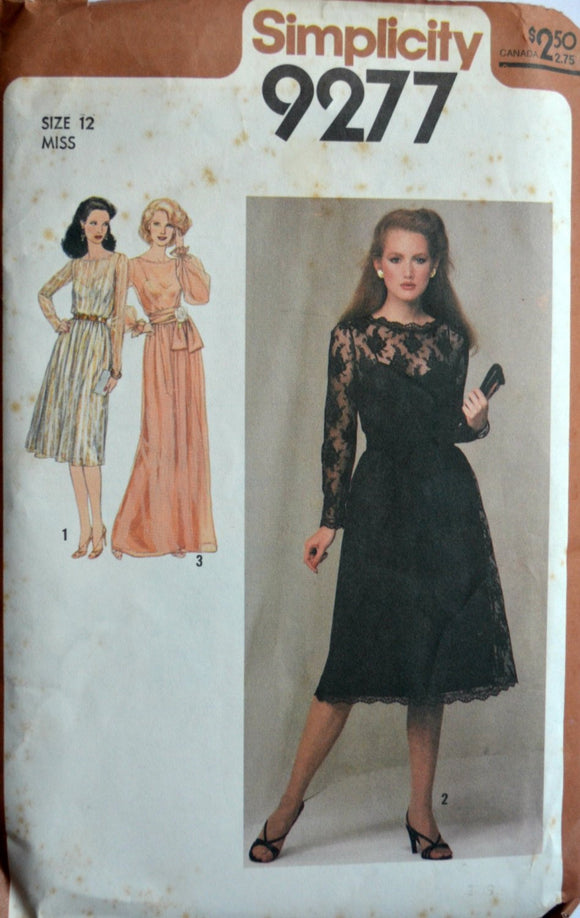 1970s Simplicity Vintage Sewing Pattern 9277, Size 12; Misses' Dress in Two Lengths and Sash