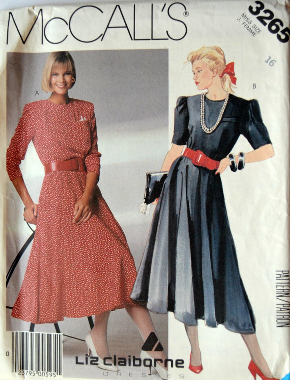 Uncut 1980s McCall's Vintage Sewing Pattern 3265, Size 16; Misses' Dress