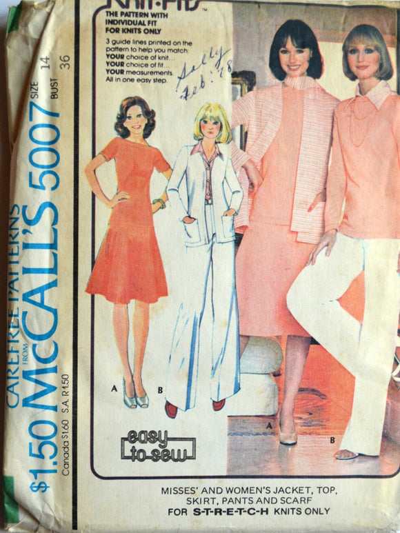 Uncut 1970s McCall's Vintage Sewing Pattern 5007, Size 14; Misses' and Women's Jacket, Top, Skirt, Pants and Scarf